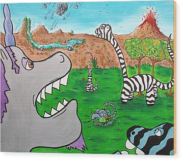 When Zebrasaurs Walked The Earth Wood Print by Jera Sky