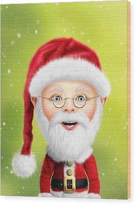 Whimsical Santa Claus Wood Print by Bill Fleming