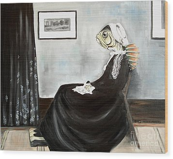 Whistler's Mother As A Fish Wood Print by Ellen Marcus