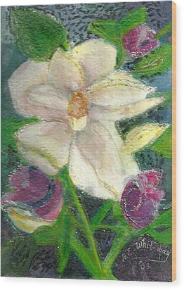 White Happy Flower Wood Print by Anne-Elizabeth Whiteway
