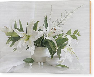 Whites Lilies Wood Print by Matild Balogh