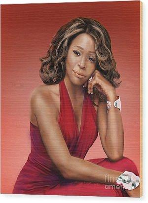 Whitney Houston Wood Print by Reggie Duffie