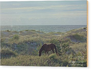 Wild Mustang Wood Print by Laurinda Bowling
