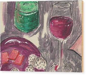 Wine And Cheese Wood Print by Suzanne Blender