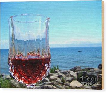 Wine By The Water Wood Print by Deborah MacQuarrie-Haig