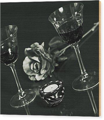 Wine For Two Wood Print by Joana Kruse