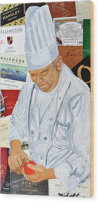 Wine Label Chef Wood Print by Michael Lee