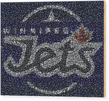 Winnipeg Jets Puck Mosaic Wood Print by Paul Van Scott