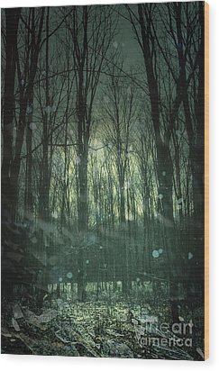 Winter Forest At Twilight Wood Print by Sandra Cunningham