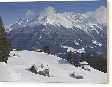 Winter Landscape In The Mountains Wood Print by Matthias Hauser