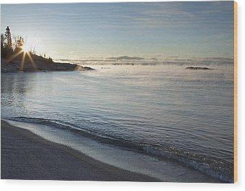 Winter Mist On Lake Superior At Sunrise Wood Print by Susan Dykstra