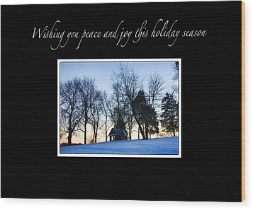 Winter Sunset Christmas Card Wood Print by Daphne Sampson