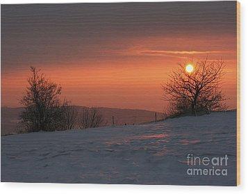 Winter Sunset Wood Print by Michal Boubin