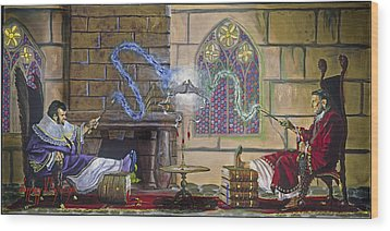 Wizards Duel Wood Print by Jeff Brimley