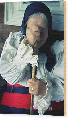 Woman From Maramures  Wood Print by Emanuel Tanjala