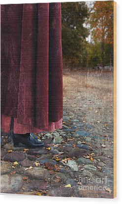 Woman In Vintage Clothing On Cobbled Street Wood Print by Jill Battaglia