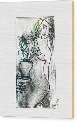 Woman In Waiting Wood Print by Lillian Michi Adams