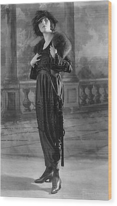 Woman Modeling Dress, A Frock Of Moon Wood Print by Everett