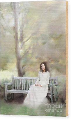 Woman Sitting On Park Bench Wood Print by Stephanie Frey