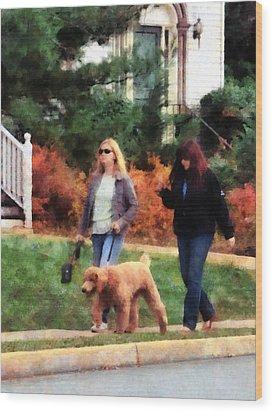 Women Walking A Dog Wood Print by Susan Savad