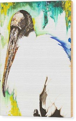 Wood Stork Wood Print by Anthony Burks Sr