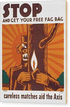 World War II, Poster Encouraging Use Wood Print by Everett