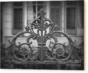 Wrought Iron Detail Wood Print by Perry Webster
