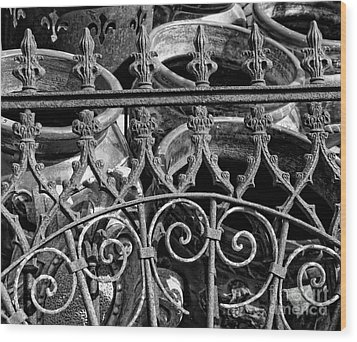 Wrought Iron Gate And Pots Black And White Wood Print by Kathleen K Parker