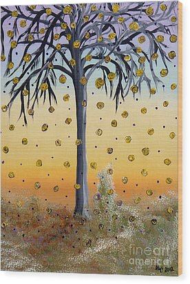 Yellow-blossomed Wishing Tree Wood Print by Alys Caviness-Gober