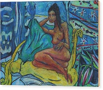 Yellow Chair 98 Wood Print by Bradley Bishko