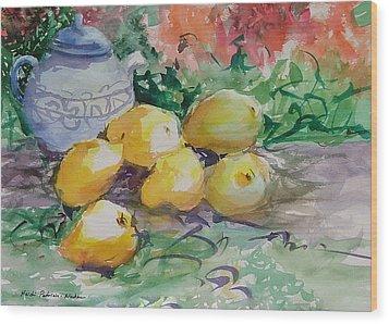 Yellow Pears Wood Print by Heidi Patricio-Nadon