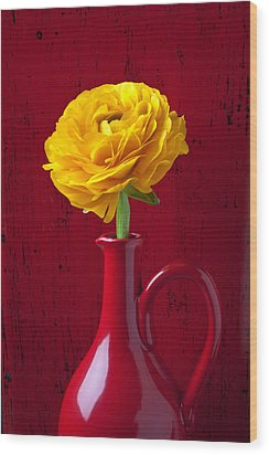 Yellow Ranunculus In Red Pitcher Wood Print by Garry Gay