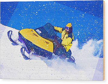 Yellow Snowmobile In Blizzard Wood Print by Elaine Plesser