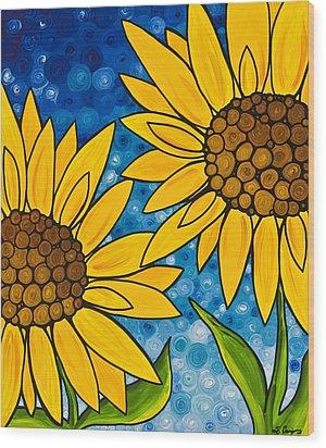 Yellow Sunflowers Wood Print by Sharon Cummings