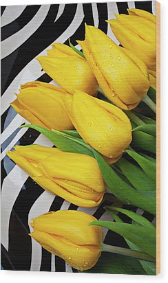 Yellow Tulips On Striped Plate Wood Print by Garry Gay
