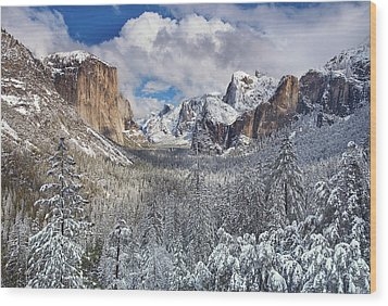 Yosemite Valley In Snow Wood Print by Www.brianruebphotography.com