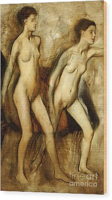 Young Spartan Girls Provoking The Boys Wood Print by Edgar Degas