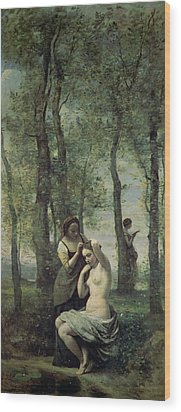 Young Woman At Her Toilet Wood Print by Jean Baptiste Camille Corot