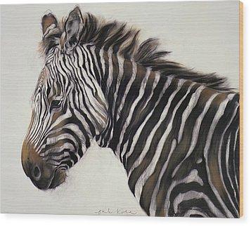 Zebra  Wood Print by Odile Kidd