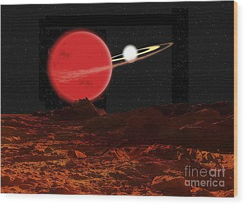 Zeta Piscium Is A Binary Star System Wood Print by Ron Miller