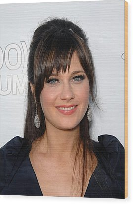 Zooey Deschanel At Arrivals For 500 Wood Print by Everett