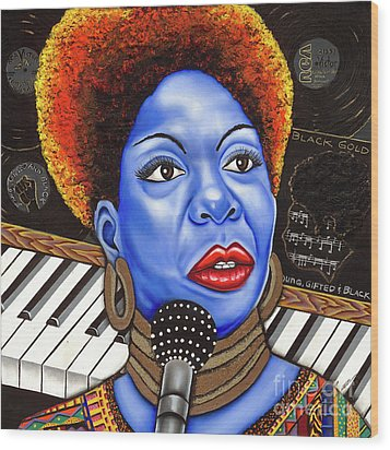 A Part Of Nina Simone Wood Print by Nannette Harris