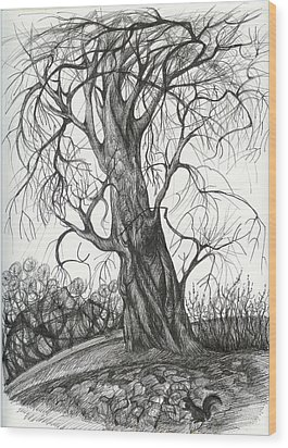 Autumn Dancing Tree Wood Print by Anna  Duyunova