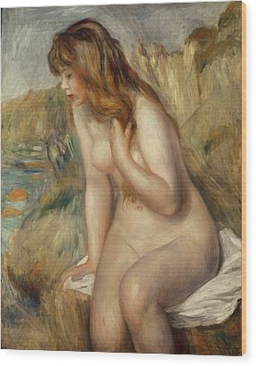 Bather Seated On A Rock Wood Print by Pierre Auguste Renoir