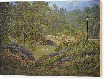 Bow Bridge Central Park Wood Print by Michael Mrozik