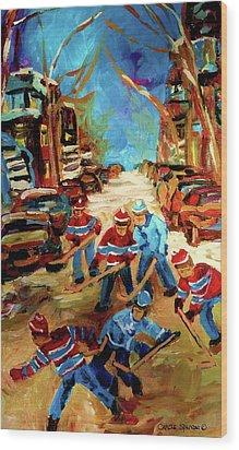 Hockey Paintings Of Montreal St Urbain Street Winterscene Wood Print by Carole Spandau