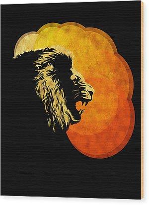Lion Illustration Print Silhouette Print Night Predator Wood Print by Sassan Filsoof