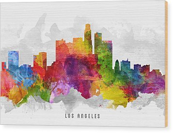 Los Angeles California Cityscape 13 Wood Print by Aged Pixel