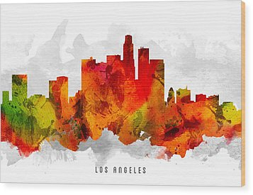 Los Angeles California Cityscape 15 Wood Print by Aged Pixel