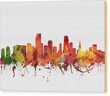 Miami Cityscape 04 Wood Print by Aged Pixel